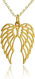 24k Gold Plated Sterling Silver Angel Wings Pendant Necklace, 18