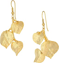 Satin Gold 3 Leaf Fish Hook Earrings