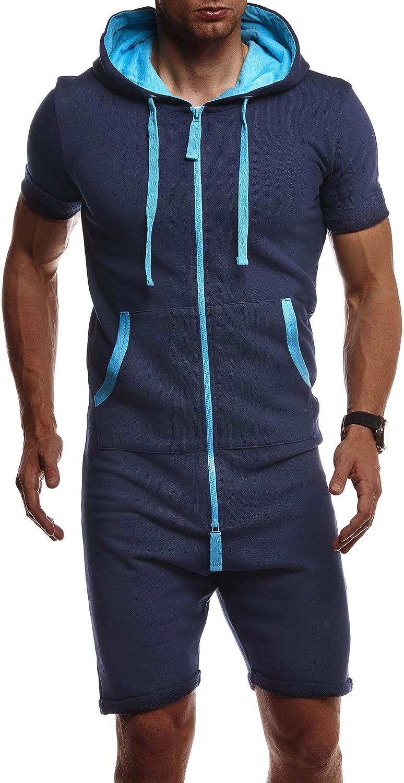 Leif Nelson Mens Short-Sleeved Jumpsuit Hood LN-8313