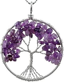 SUNYIK Tumbled Gemstone Tree of Life Pendant Necklace for Women Men