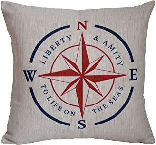 DECOPOW Cotton Linen Decorative Throw Pillow Case Cushion Cover Nautical Compass Square 18 X18 Inches