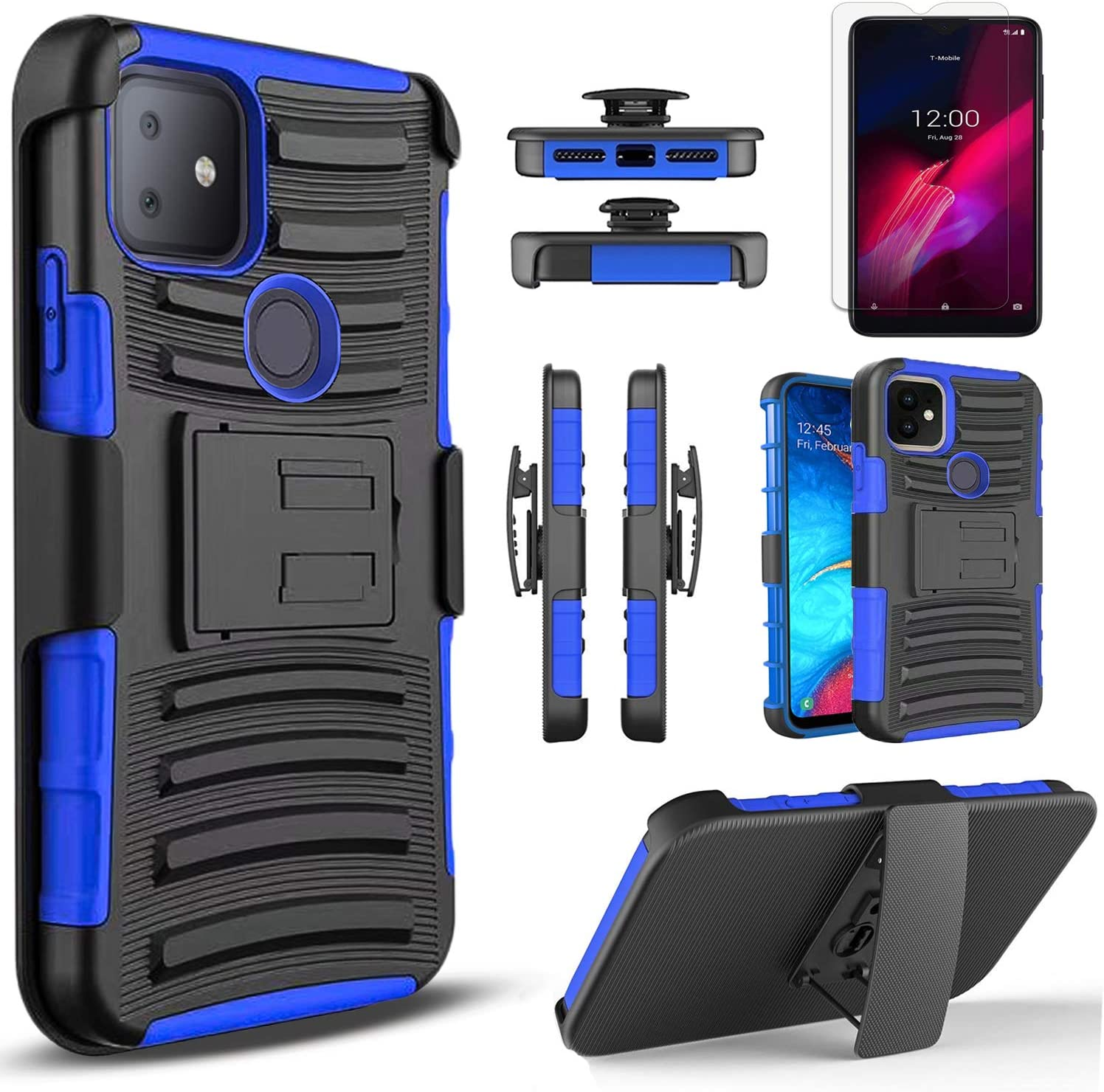 Circlemalls - T-Mobile Revvl 4 Plus Phone Case, [Not Fit Revvl 4] With [Tempered Glass Screen Protector Included], Armor Heavy Duty Kickstand Cover With Belt Clip Holster - Blue
