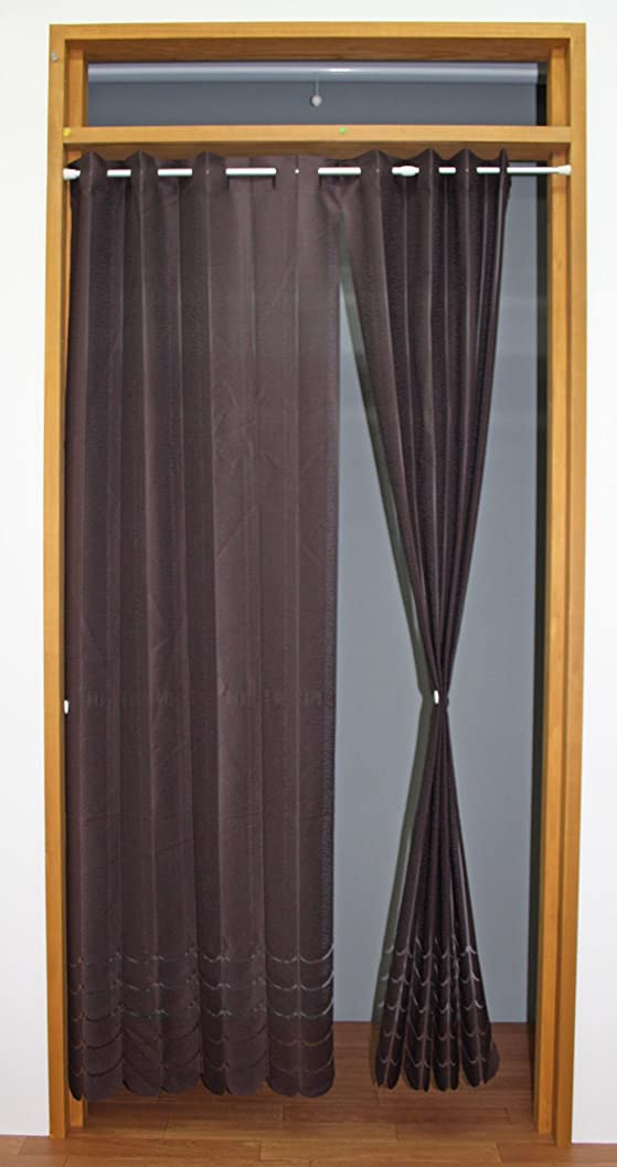 生じるケーブル免除アコーディオンのれん キャンパス ブラウン 10252 幅145cm×丈175cm