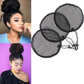 AliLeader 3 Pcs Wig Cap For Making Afro Puff Bun Stretchy Base For Making Afro Ponytail Drawstring Ponytail Guleless Hairnet Adjustable Strap Hair Net Weaving Wig Cap(Round/L)