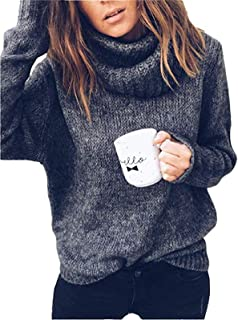 Women's Turtleneck Loose Cozy Solid Color Lapel Knitted Pullover Sweaters