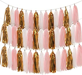 LEWOTE Tissue Paper Tassel Garland - 20pcs Tassels Per Package - 12 Inch Long Tassels(Gold/Pink/White(3Pack)