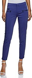 oodji Ultra Women's Slim-Fit Trousers with Decorative Zippers