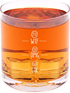 WTF, OMG, LOL - Funny Novelty Whisky on the Rocks Glass with Coaster and Gift Box - 11 oz - Present for Dad Boyfriend Husband Friend Men Birthday Fathers Day Christmas