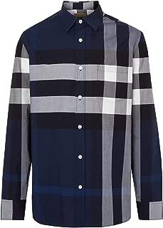 BURBERRY Men's Windsor Check L/S Stretch Cotton Sport Shirt in Indigo