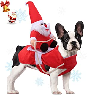 Relting Pet Christmas Costumes Santa Claus Riding on Dog Pet Outfits Winter Warm Apparel Party Dressing Up Clothing for Small Large Dogs and Cats