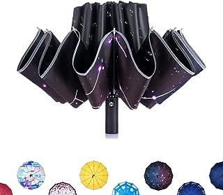 CarBoys 逆さ 折りたたみ傘 自動 12本骨 逆折り 反転 逆転傘 ワンタッチ 日傘 UVカット 遮光遮熱 UPF50+ ビニール塗装 晴雨兼用 アルミスチール受骨 補強グラスファイバー PUケース付き