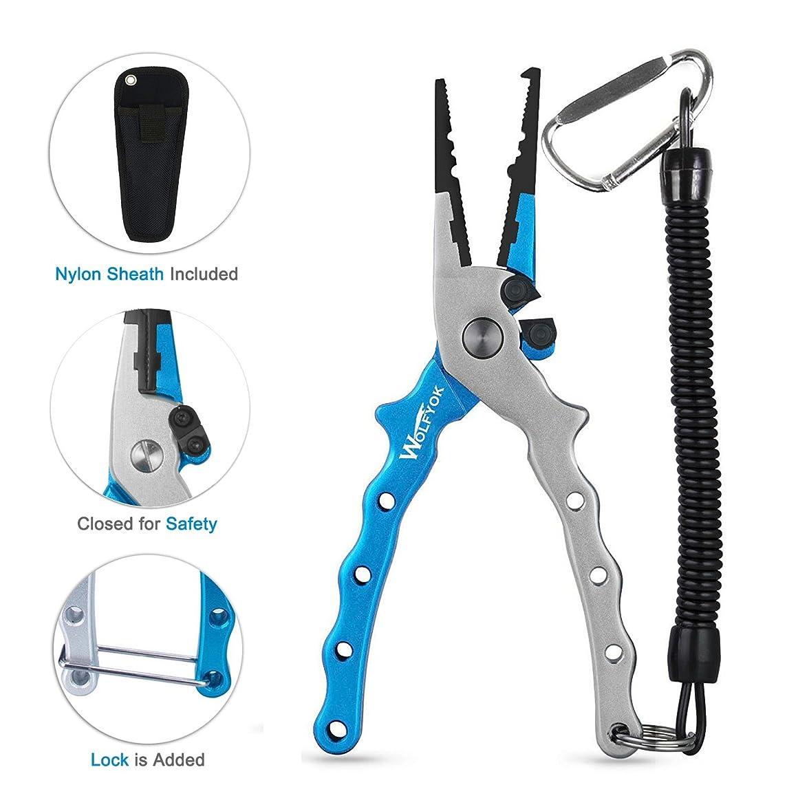 Wolfyok Aluminum Fishing Pliers, Stainless Steel Hook Removers Pliers, Rustproof Saltwater Split Ring Tool & Braid Line Cutters with Sheath and Lanyard