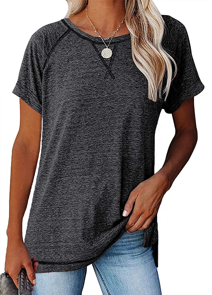 Women's Short Sleeve Crewneck T Shirts Tees Side Split Casual Loose Fit Tunic Tops