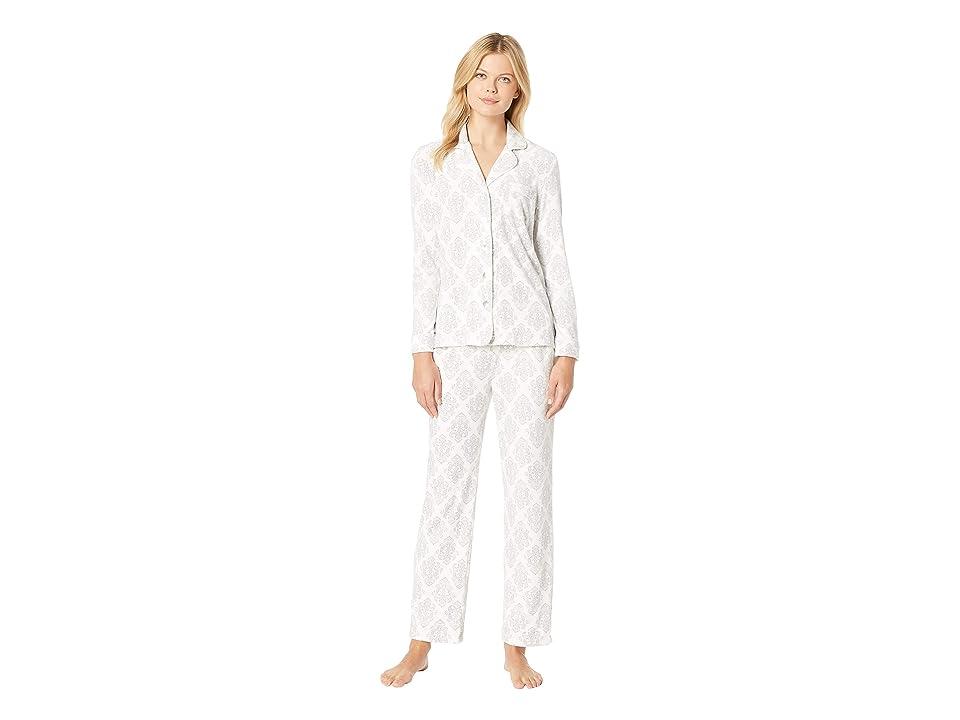 Carole Hochman Luxe Cozy Fleece Pajama Set (Ivory Damask) Women