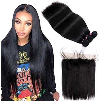 "FQ Peruvian Straight Hair 3 Bundles with Frontal Closure(18""20""22""+frontal 16"")10A Unprocessed Straight Human Hair Bundles with Frontal 13x4 Ear To Ear Bundles with Frontal Closure 4 Bundles Deals"