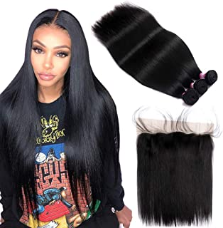 FQ Peruvian Straight Hair 3 Bundles with Frontal Closure(16 18 20+14 frontal) 10A Unprocessed Straight Human Hair Bundles with Frontal 13x4 Ear To Ear Straight Bundles with Frontal Closure Baby Hair