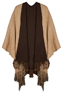 Women's Winter Cashmere Feel Poncho Open Front Blanket Capes Shawl Cardigans Sweater Coat