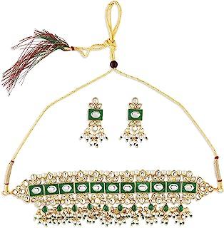 Zaveri Pearls Green Meenakari Kundan Choker Necklace & Earring Set For Women-ZPFK10829