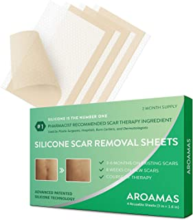 "Aroamas, Silicone Scar Removal Sheets - for Keloid, C-Section, Hypertrophic, Surgical Scars and More Reusable and Washable 3""×1.57"", 4 Sheets (2 Month Supply)"