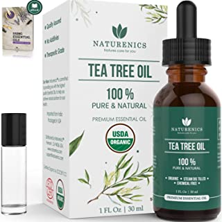 Naturenics Tea Tree Essential Oil-100% USDA Organic Melaleuca Alternifolia Therapeutic Grade- Natures Solution For Acne, Toenail, Lice, Hair, Face, Skin Problems-Roll On & eBook-1 Fl Oz