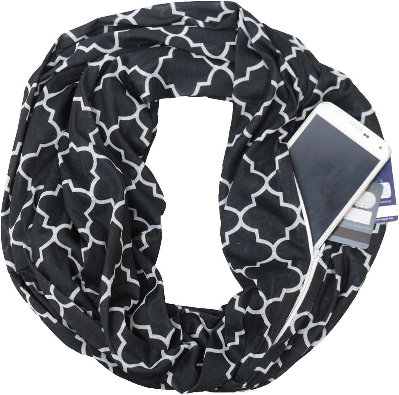 Pop Fashion Women's Black Infinity Scarf w  Zipper Pocket & Pattern, Infinity Scarves