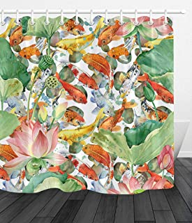 BdhBHDuio Watercolor Pond Fish Carp Koi Flower Lotus Fabric Shower Curtainshower Curtain Set 3D HD Printing Does not Fade 12 Shower Hook 70.8X70.8 inch Home Decoration Bathroom Accessories