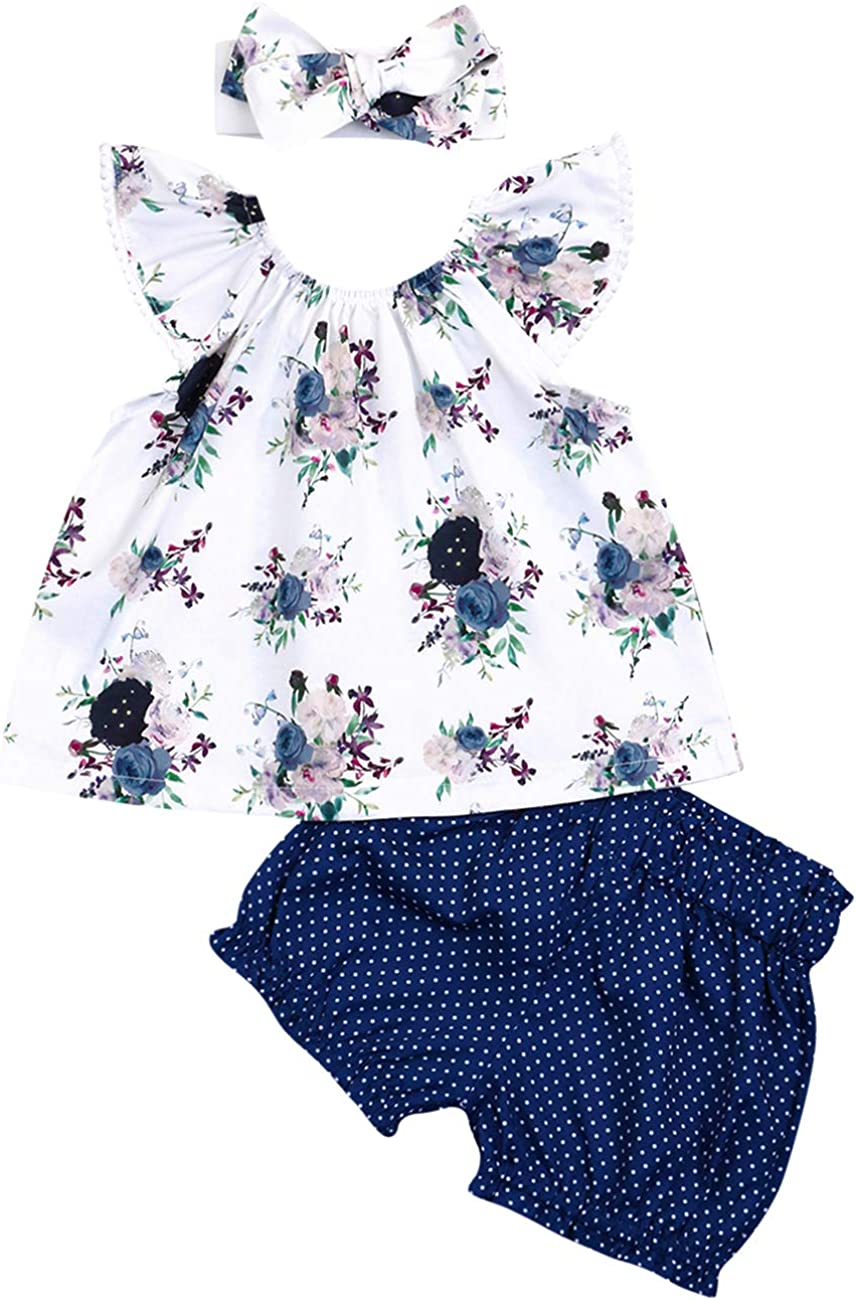 Baby Girls Clothes Set Ruffle Sleeve Floral Top T-Shirt with Wave Point Bloomer Shorts Headband 2pc/3pc Outfits