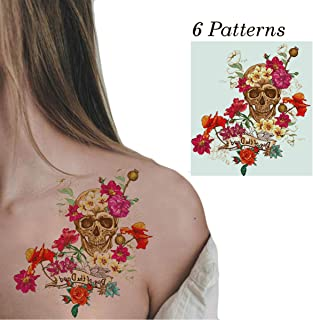 Temporary Tattoos Kit  for Women Men Realistic Face Semi permanent Tattoo Halloween Decorations Makeup 6 Sheets Sexy Sugar Skull 3d Temporary Tattoo Stickers with Flowers Skull