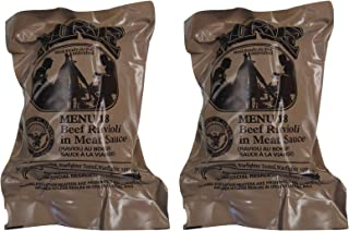 TWO (2) NEW MRE's 2020 - 2021 1st Insp. date - US Military Meals Ready-to-Eat w/FREE DESSERT! (Two 18's - Beef Ravioli in Meat Sauce)