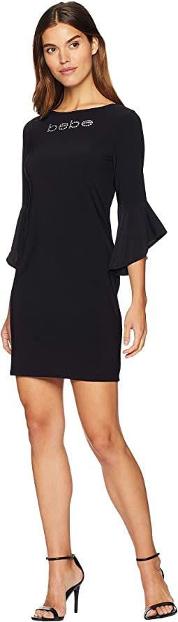 Logo Ruffle Sleeve Short Dress