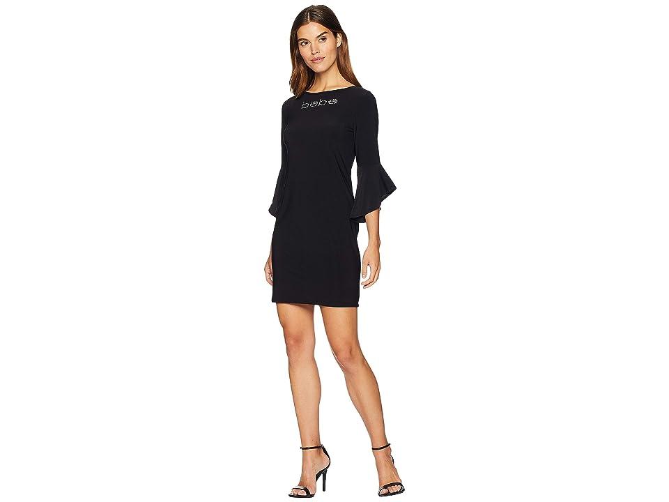 Bebe Logo Ruffle Sleeve Short Dress (Black) Women