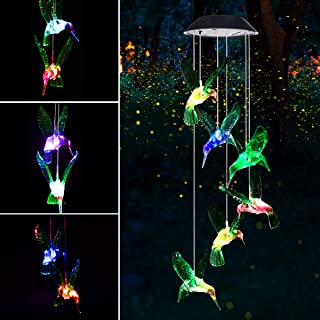 Mosteck Wind Chimes Outdoor, Solar Hummingbird Wind Chimes Color Changing Lights Mobile Wind Chime Best Memorial Birthday Gifts for Mom Grandma, Decorative Romantic Patio Lights for Yard Garden Home