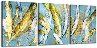 3 Pieces Blue Abstract Canvas Wall Art Colorful Animal Feathers Modern Prints Art Canvas Painting Contemporary Artwork Framed Ready to Hang for Home Decoration (12x16inx3)