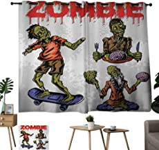 WinfreyDecor Zombie Sliding Curtains Dead Man Eating Brain Cannibal Meditating Skate Boarding Graphic Pattern Noise Reducing 55