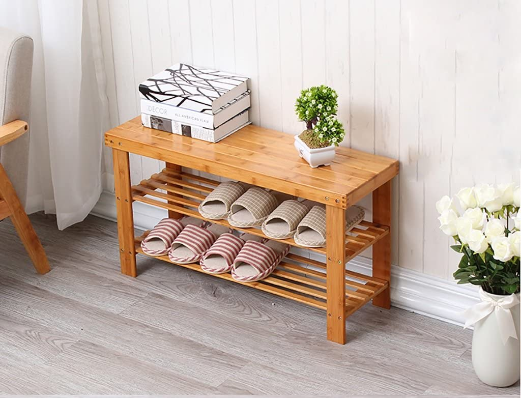 Cheap sale RSWLY 2 Tier Shoe Rack Natural OFFicial store Wooden Simple Bamboo St