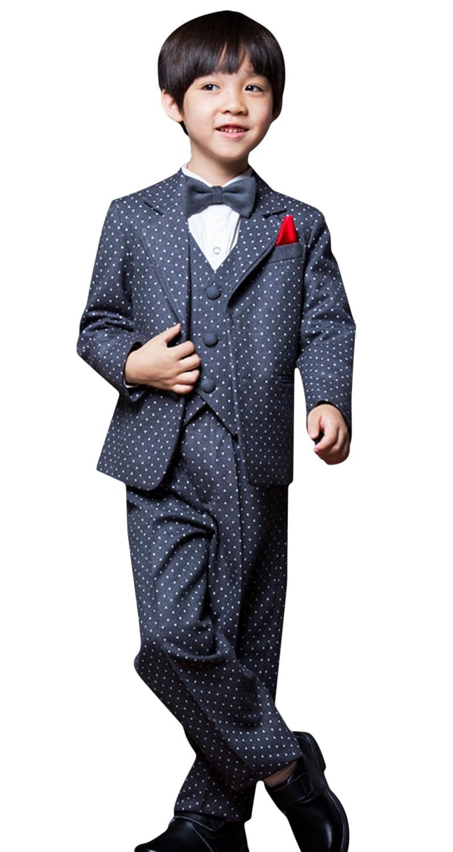 (ラボーグ)La Vogue 子供スーツ 5セット ジャケット ベスト シャツ ズボン ネクタイ ボーイズ 格好い 演奏会 結婚式 パーティー 卒業式 通学