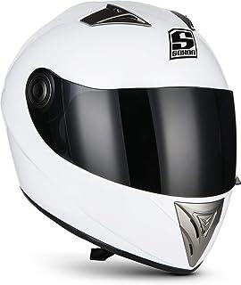 "Soxon ST-550 ""Snow""  Integral-Helm  Full-Face Motorrad-Helm Roller-Helm Scooter-Helm Cruiser Sturz-Helm StreetFighter-Helm Sport Urban Helmet  ECE 22.05 Visier Schnellverschluss Tasche S 55-56cm"
