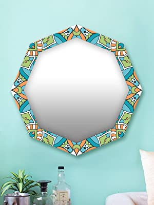 999Store Printed Green Abstract Pattern Octagon Mirror (MDF_24X24 Inch_Multi)