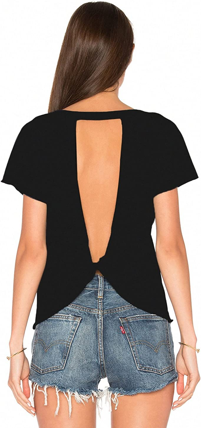 Blooming Jelly Women's Sexy Backless Short Sleeve Top Back Knot Casual Shirt Tee Workout Tops for Women