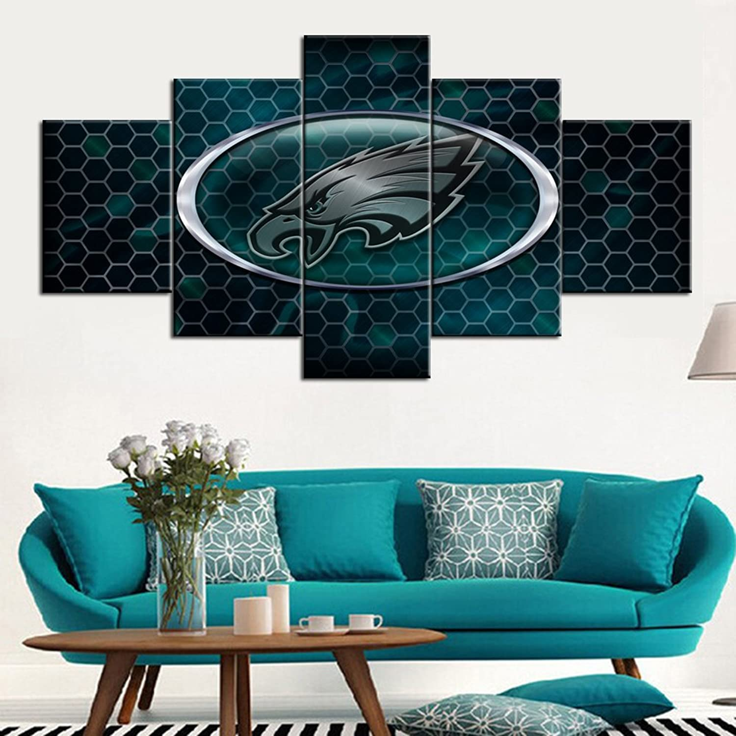 Philadelphia Eagles Canvas Wall Art Football Wall Decor Home Decor for Men Paintings Logo of NFL Superbowl 2018 Champion Pictures 5 Piece Artwork for Living Room Framed Ready to Hang(60''Wx32''H)