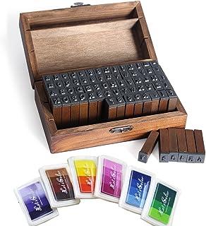 Set di 36 timbri in metallo con lettere e numeri colore nero legno per timbri maiuscoli da 3 mm pelle per timbri su metallo dalla A alla Z e da 1 a 9 HSEAMALL