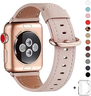 WFEAGL コンパチブル Apple Watch バンド,は本革レザーを使い、iWatch Series 5/4/3/2/1、Sport、Edition向けのバンド交換ストラップです コンパチブル アップルウォッチ バンド(38mm 40mm, ピンクの砂 バンド+ゴールド バックル)