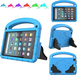 TeeFity Kids Case for Amazon All-New Fire 7 Tablet 2019-[The Dolphin Series] Shockproof Handle Light Weight Protective Stand Case for Amazon Fire 7 inch Kids Tablet, 9th Generation, 2019 Release, Blue