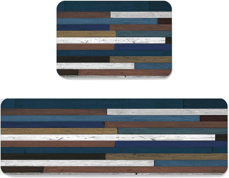 ARTSHOWING Anti Ranking TOP1 1 year warranty Fatigue Kitchen Rugs Wate Wood Set Grain 2Piece