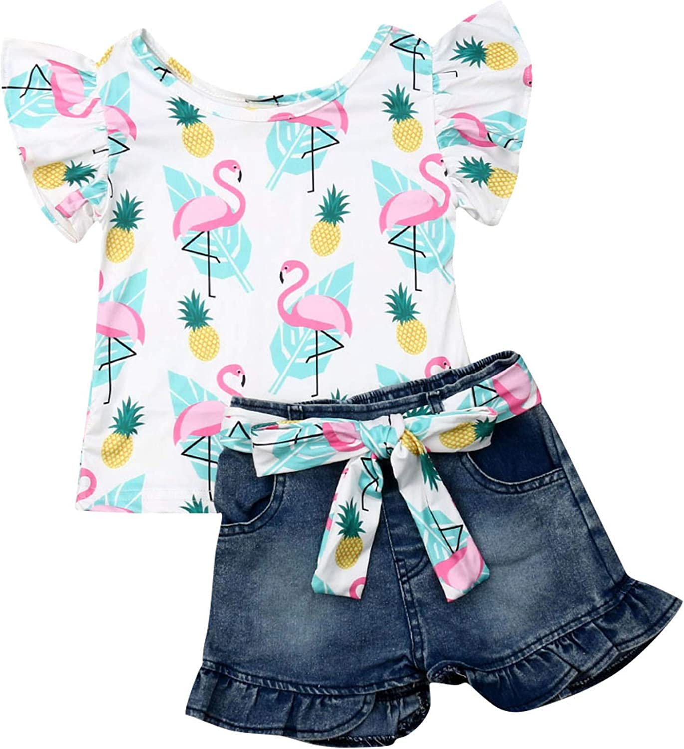 Toddler Baby Girls Jeans Shorts Outfits Floral Shirt Tops Ripped Denim Shorts Summer Clothes Set
