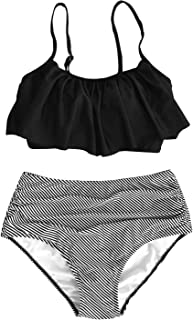 CUPSHE Women's High Waisted Falbala Bikini Set