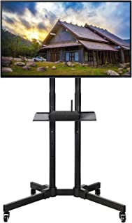 Topeakmart Portable 32 to 65 inch Mobile TV Stand TV Cart Rolling TV Stand on Wheels for LCD LED Plasma Flat Screen Black