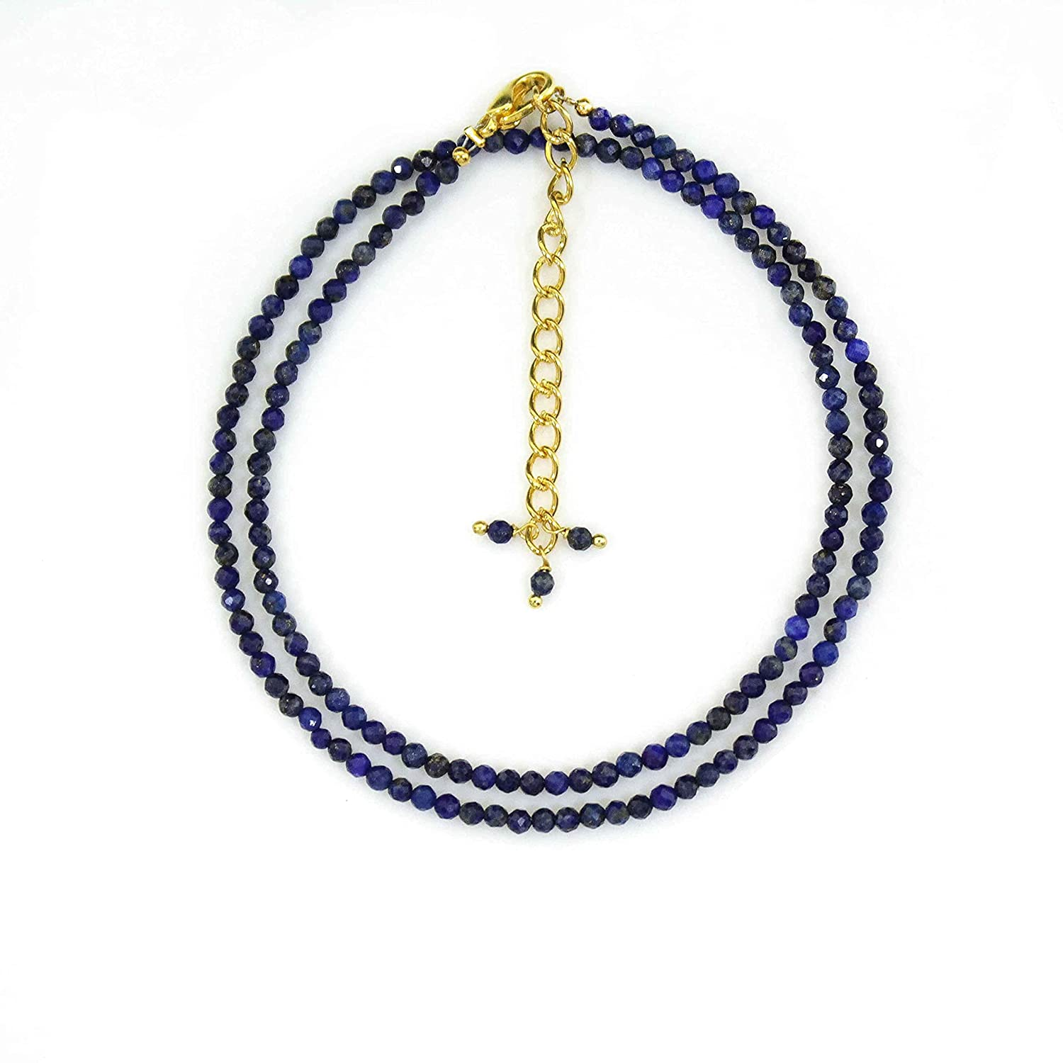 Gempires Lapis In stock Lazuli Beads Necklace San Jose Mall Micro Neckl Faceted Beaded