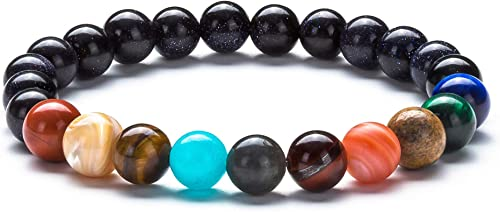 Fesciory Women Solar System Bracelet Universe Galaxy The Eight Planets Guardian Star Natural Stone Beads Bracelet Ban...