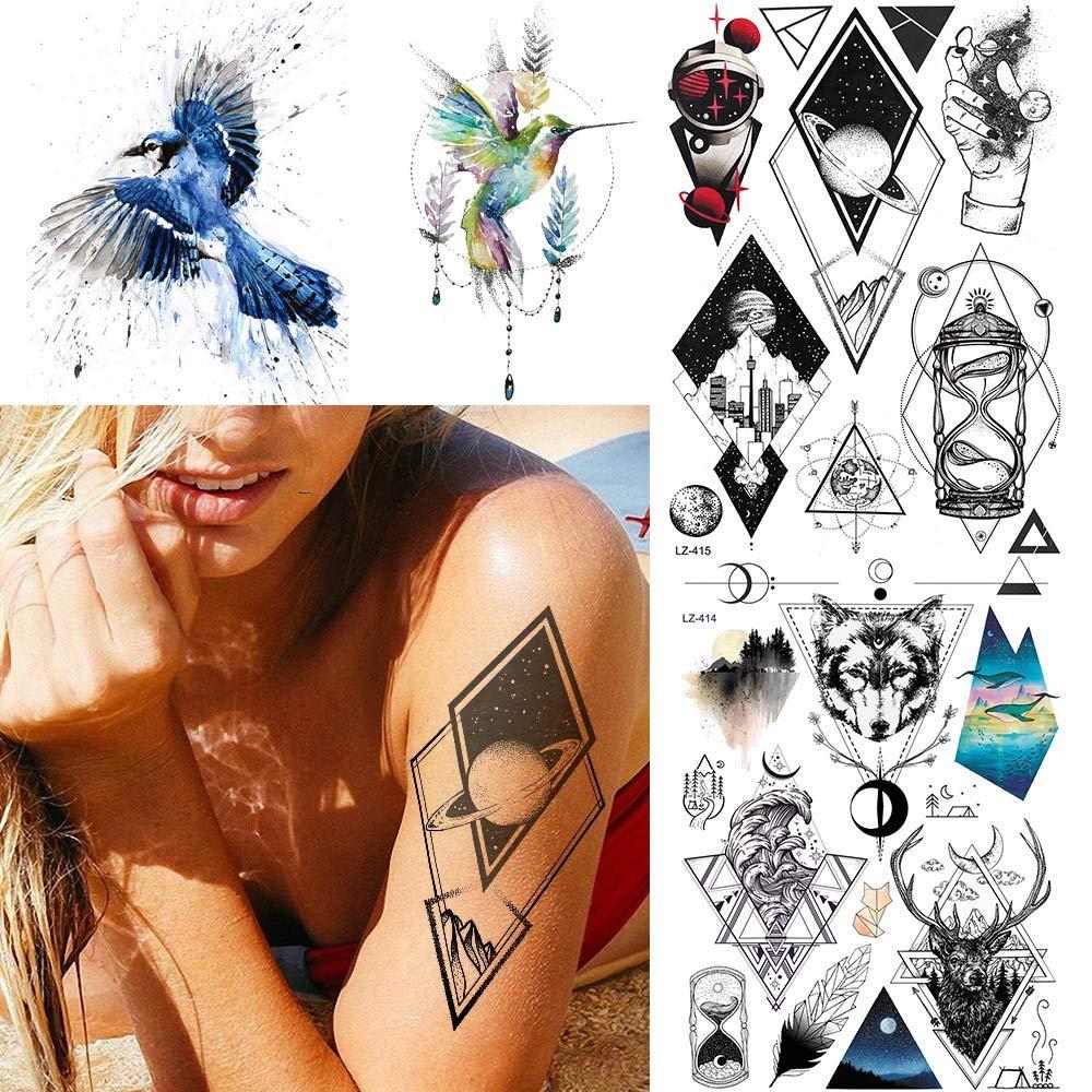 MRKAL Tatuaje Falso Tatuaje Universo Geométrico Robot Negro Falso ...